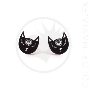 Clous d'Oreilles Têtes de Chat Noir   Color-Mania.fr