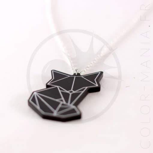 Collier Renard Origami Noir | Color-Mania.fr