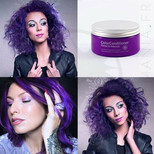 Rendu du soin repigmentant intense violet sur différentes chevelures