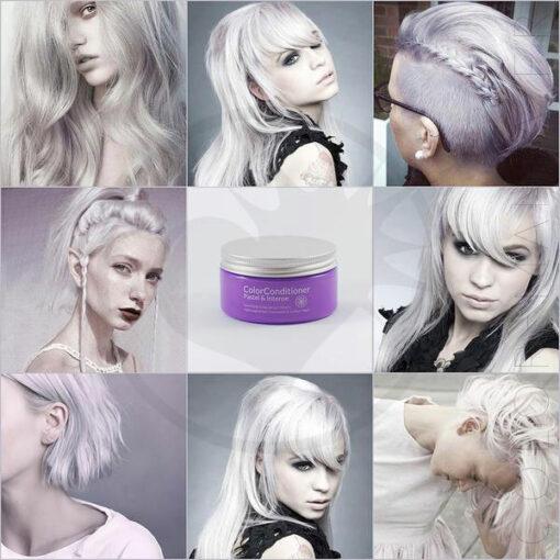 Rendu du soin repigmentant blanc pastel lavande sur différentes chevelures