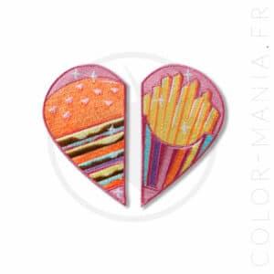 Patch Cœur Duo Burger & Frites | Color-Mania