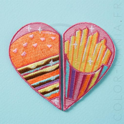 Patch Cœur Duo Burger & Frites | Color-Mania
