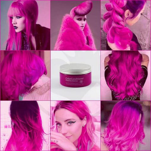 Rendu du soin repigmentant rose intense sur différentes chevelures