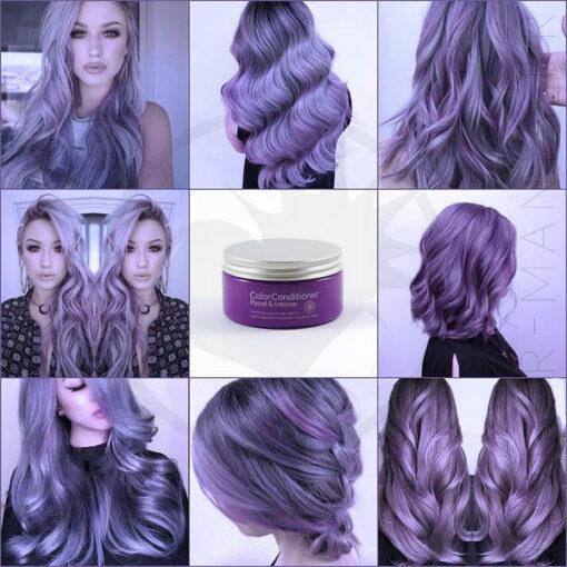 Rendu du soin repigmentant pastel violet sur différentes chevelures