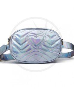 Sac à Main Pochette Holographique Bleu Acier | Color-Mania