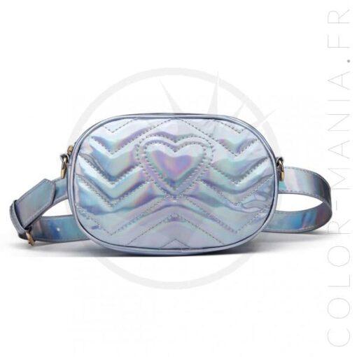 Sac à Main Pochette Holographique Bleu Acier   Color-Mania