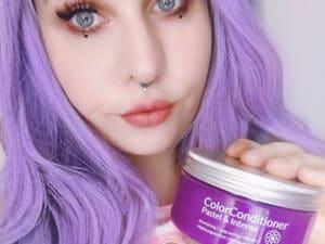 Résultat estimé du soin repigmentant cheveux pastel lavande