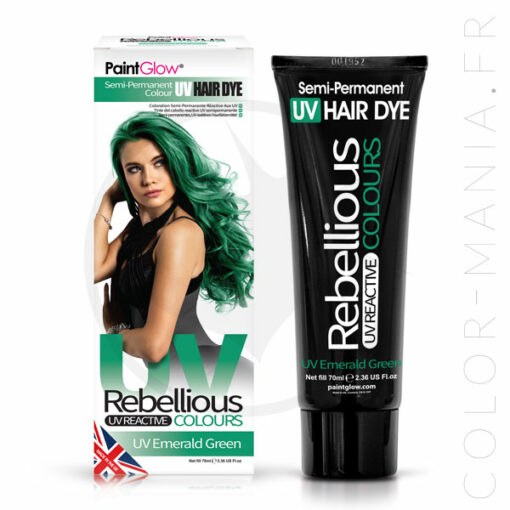 Coloration Cheveux Vert UV Emerald Green - Rebellious | Color-Mania.fr