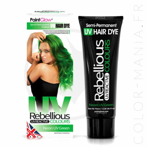 Coloration Cheveux Vert Neon UV Green - Rebellious | Color-Mania.fr