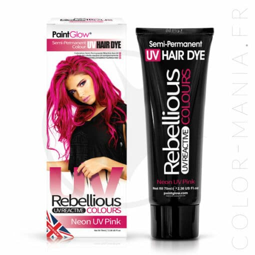 Coloration Cheveux Rose Neon UV Pink - Rebellious | Color-Mania.fr