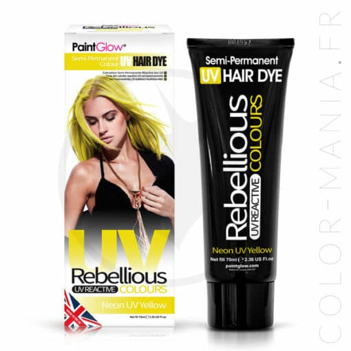 Coloration Cheveux Jaune Neon UV Yellow - Rebellious | Color-Mania.fr