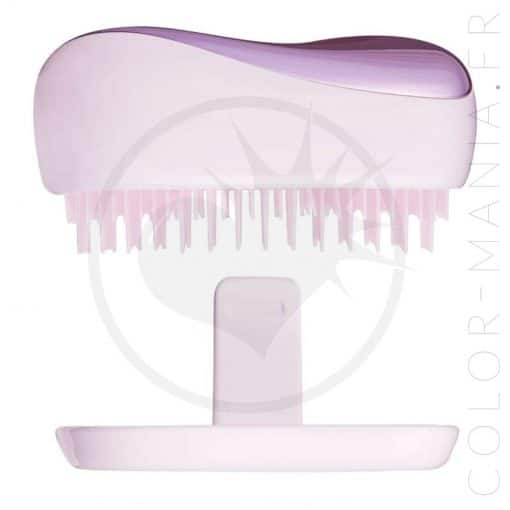 Brosse à cheveux tangle teezer-compact styler lilac gleam vue de la tranche, avec son couvercle de protection color-mania