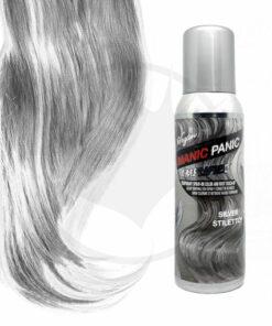 Flacon de spray Manic PAnic Argent et visualisation du rendu sur mèche de cheveux