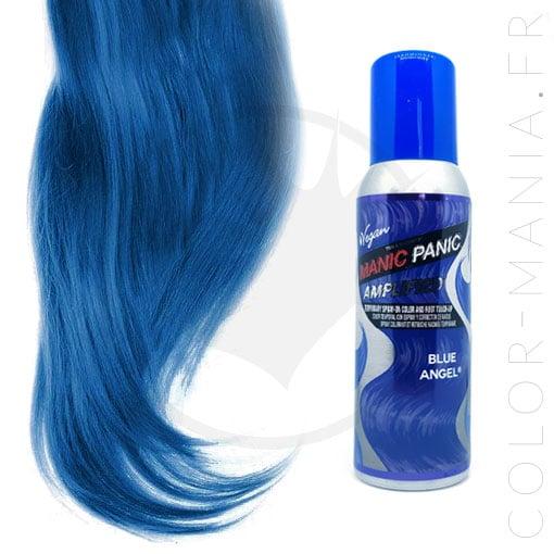 Tube de spray Manic Panic bleu et résultat estimé sur mèche de cheveux