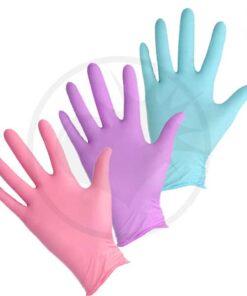 Gants Coloration Nitrile rose, violet et turquoise Pastels - Sachet de 2 paires