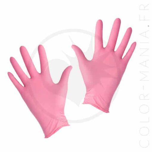 paire de gants nitrile rose pastel | Color-Mania.fr