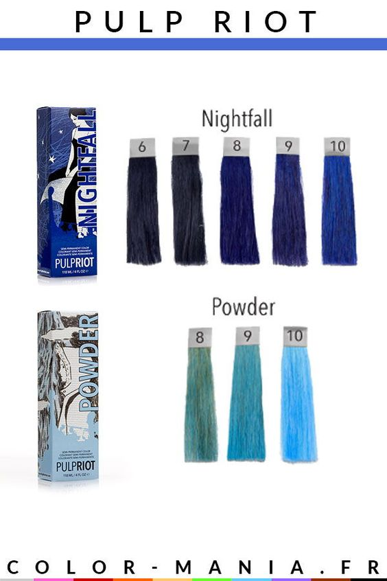 Différentes teintes de cheveux bleus chez Pulp Riot