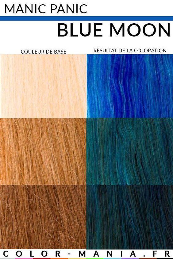 Exemple de coloration bleu sur fond de décoloration divers - Manic Panic Blue Moon