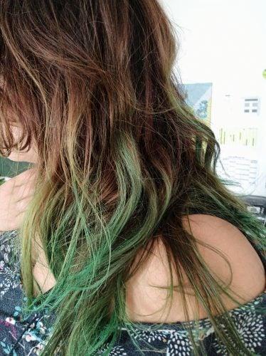 Mèche de cheveux verts